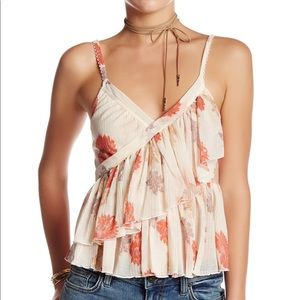 Free People Floral Ruffle Top XS